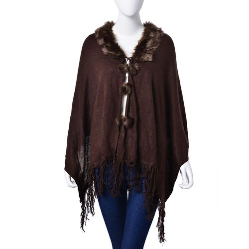 One Time Deal - Designer Inspired - Super Soft Chocolate Colour Longer Line Kimono Cape with Faux Fur Collar (Free Size)