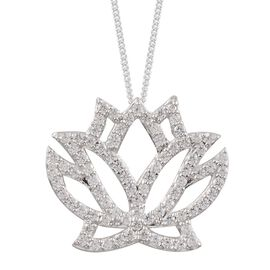 (Option 2) J Francis - Platinum Overlay Sterling Silver (Rnd) Lotus Pendant With Chain Made with SWAROVSKI ZIRCONIA