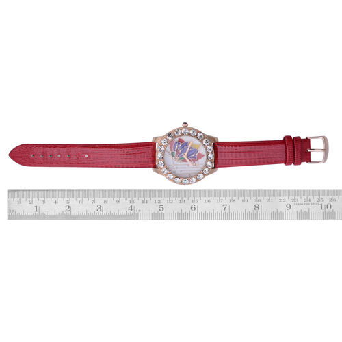 GENOA Japanese Movement Butterfly Enameled Dial White Austrian Crystal Water Resistant Watch in Rose Gold Tone with Croc Embossed Red Colour Strap