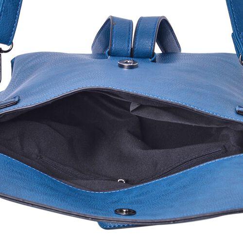 Royal Blue Colour Handbag with Adjustable and Removable Shoulder Strap (Size 24x19.5x6 Cm)