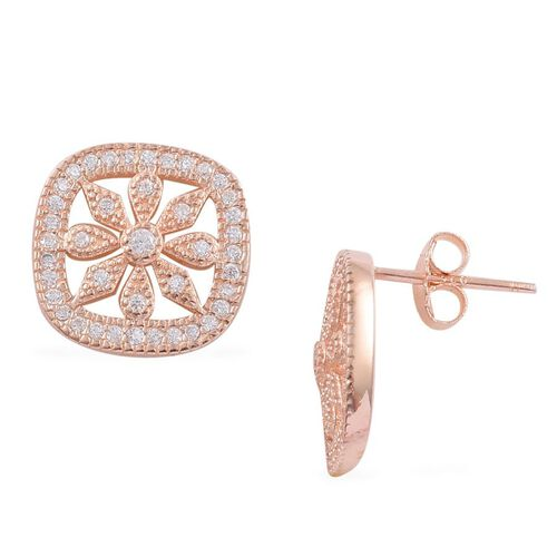 ELANZA AAA Simulated White Diamond Earrings (With Push Back) in Rose Gold Overlay Sterling Silver