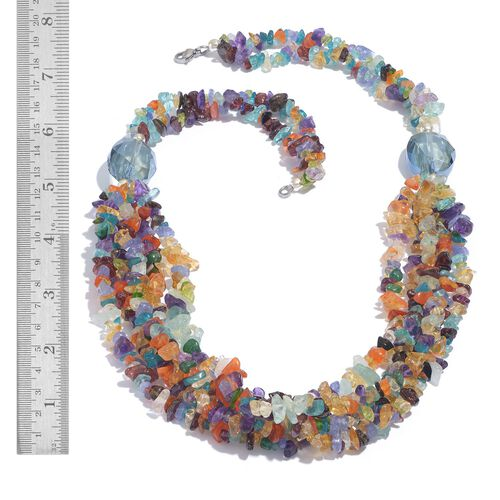 Carnelian, Paraibe Apatite, Mozambique Garnet, Tanzanite, Amethyst, Citrine, Malgache Neon Apatite, Glass and Hebei Peridot Necklace (Size 20) in Silver Tone with Stainless Steel 316.610 Ct.