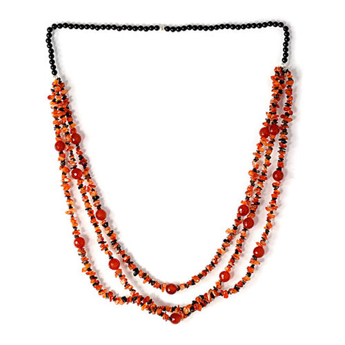 Carnelian, Red Agate Enhanced, Brazilian Smoky Quartz and Black Onyx Necklace (Size 36) 518.350 Ct.