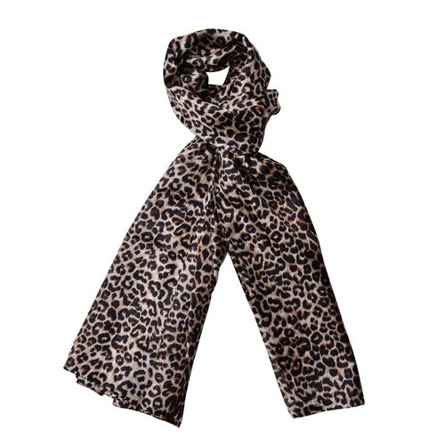 100% Mulberry Silk Leopard Pattern Black and Coffee Colour Scarf (Size 180x110 Cm)