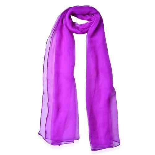 Pantone Collection - 100% Mulberry Silk Purple Colour Scarf (Size 170x70Cm)