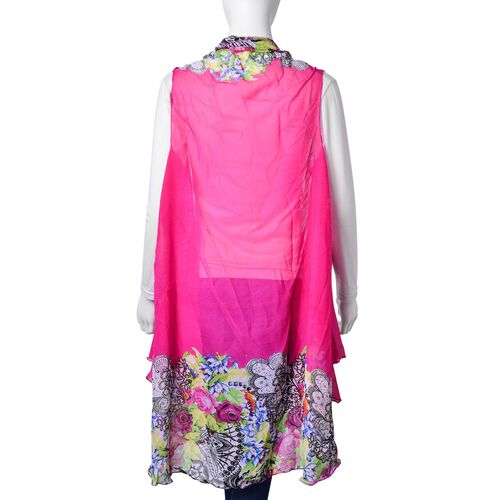Pink, Green, Black and Multi Colour Floral and Leaves Pattern Fuchsia Colour Poncho (Free Size)