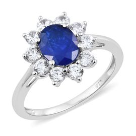 3.75 Ct Very Rare Blue Spinel and Natural White Cambodian Zircon Halo Ring in Platinum Plated Silver