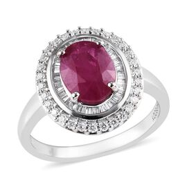 RHAPSODY 950 Platinum AAAA Burmese Ruby (Ovl 2.00 Ct), Diamond (VS/ E-F) Ring 2.500 Ct.