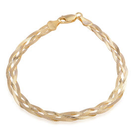 Vicenza Collection - Gold Plating Sterling Silver Twisted Bracelet (Size 7.5). Silver wt. 3.6 Gms.
