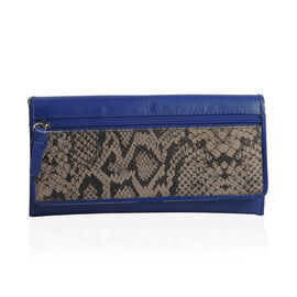 Genuine Leather RFID Blocker Blue and Beige Colour Snake Pattern Wallet with Multiple Card Slots (Size 19X10.5X3.8 cm)