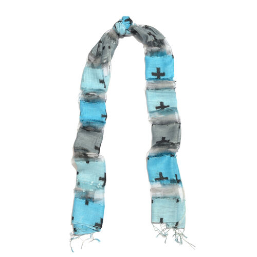 New Season-30% Silk Light Blue, Grey and Multi Colour Cross Printed Scarf with Tassels (Size 180X60 Cm)