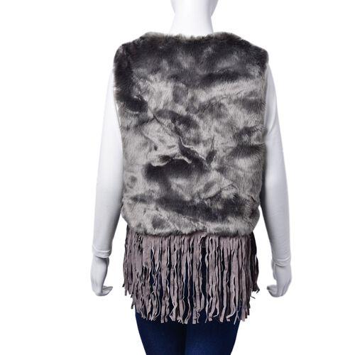 Grey Colour Faux Fur Vest with Tassels (Size 50x45 Cm)
