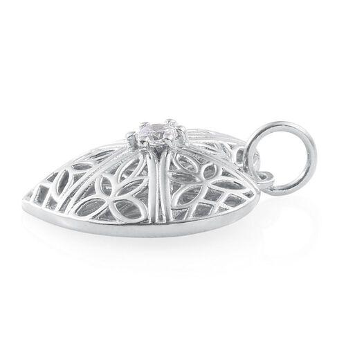 J Francis - Platinum Overlay Sterling Silver (Rnd) Heart Pendant Made with SWAROVSKI ZIRCONIA