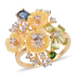 Jardin Collection - Yellow Mother of Pearl, London Blue Topaz, Hebei Peridot and Multi Gemstone Flower Ring in Yellow Gold Overlay Sterling Silver
