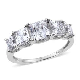 J Francis - Platinum Overlay Sterling Silver (Sqr) 5 Stone Ring Made with SWAROVSKI ZIRCONIA