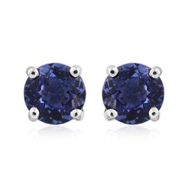 ILIANA 18K W Gold AAA Tanzanite (Rnd) Stud Earrings (with Screw Back) 1.000 Ct.