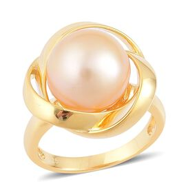 Very Rare Size South Sea Golden Pearl (Rnd 12 to 12.5 mm) Ring in Yellow Gold Overlay Sterling Silver