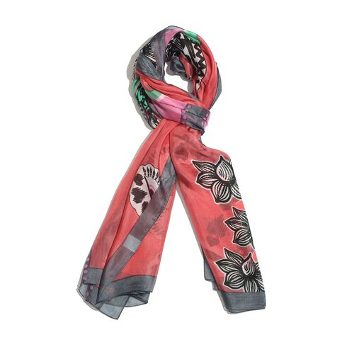 100% Mulberry Silk Black and Multi Colour Floral Pattern Red Colour Scarf (Size 180x100 Cm)