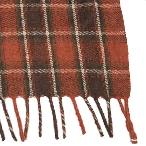 Limited Available - Supersoft Wool Brick and Brown Colour Plaid with Fringes (Size 152x125 Cm + 8 cm Fringes/Side)