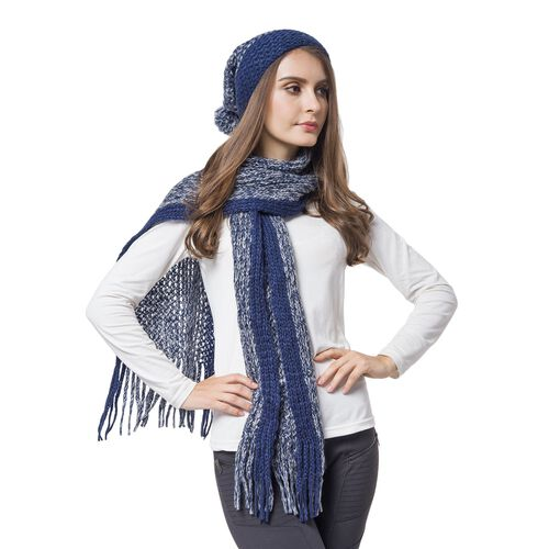 Designer Inspired-Navy Colour Knitted Scarf with Tassels (Size 166X16 Cm) and Hat (Size 30X22 Cm)