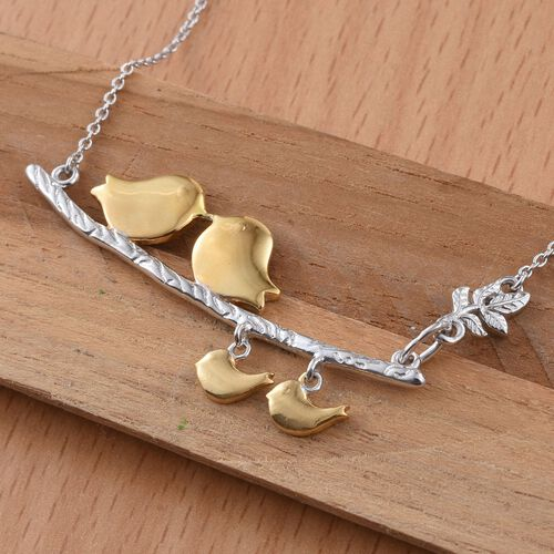 Platinum and Yellow Gold Overlay Sterling Silver Birds and Leaves Necklace (Size 18), Silver wt 9.11 1Gms.