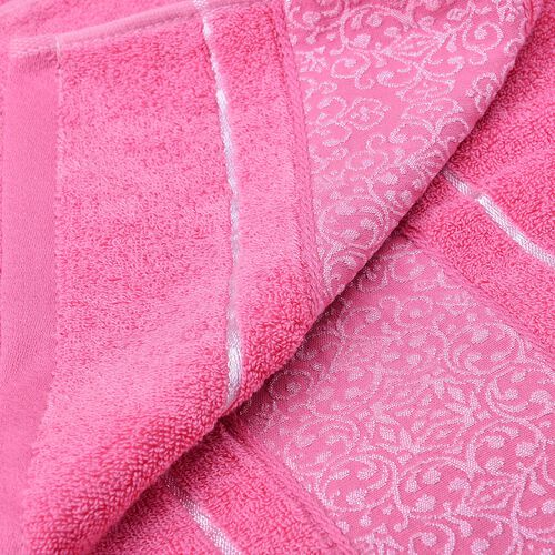 Set of 2 - Pink Colour 70% Bamboo and 30% Cotton Towel Large (Size 140x65 Cm) and Small (Size 70x50 Cm)