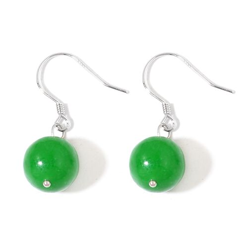 Green Jade Ball Necklace (Size 18 with 2 inch Extender) and Hook Earrings in Rhodium Plated Sterling Silver 218.000 Ct.