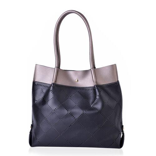 Black and Metallic Grey Colour Laser Cut Pattern Tote Bag (Size 40x30x13.5 Cm)