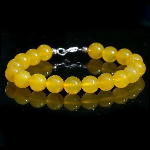 Yellow Agate Ball Beaded Bracelet (Size 8) with Lobster Lock in Platinum Overlay Sterling Silver 102.000 Ct.