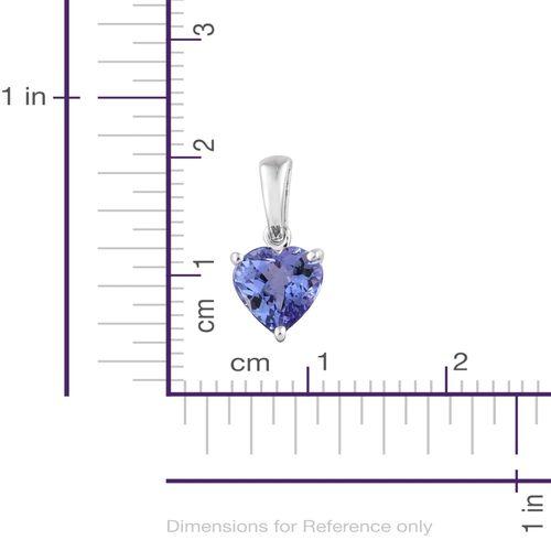 9K White Gold 1.20 Ct AA Tanzanite Solitaire Heart Pendant