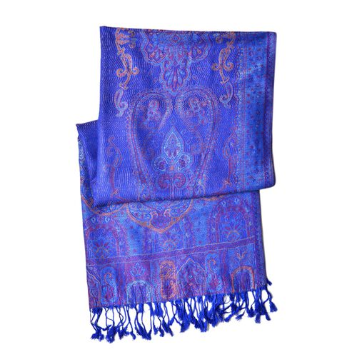 Royal Blue, Pink and Multi Colour Ethnic Pattern Scarf with Tassels (Size 170X68 Cm)