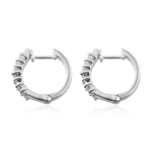 J Francis - Sterling Silver (Mrq) Hoop Earrings (with Clasp) Made with SWAROVSKI ZIRCONIA