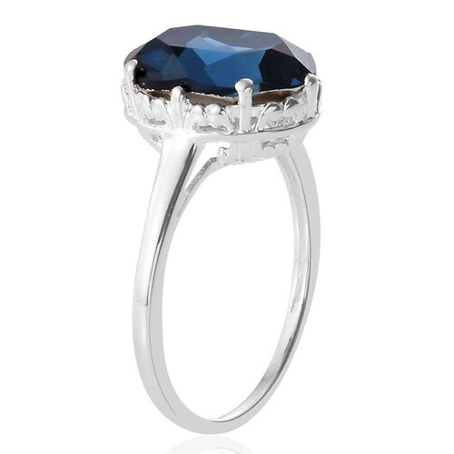 J Francis Crystal from Swarovski - Montana Crystal (Ovl) Solitaire Ring in Sterling Silver