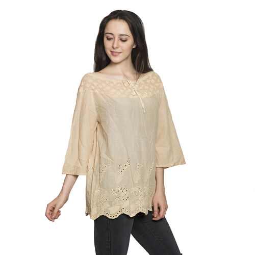 100% Cotton - Italian Punto Tagliato Technique Almond Buff Colour Summer Top (Free Size)