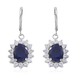 Madagascar Blue Sapphire (Ovl), Natural Cambodian White Zircon Lever Back Earrings in Rhodium Plated Sterling Silver 9.000 Ct.