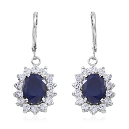 Madagascar Blue Sapphire (Ovl), Natural White Cambodian Zircon Lever Back Earrings in Rhodium Plated Sterling Silver 9.000 Ct.