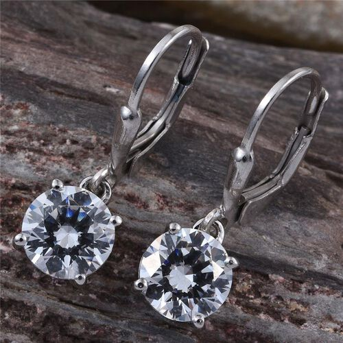 J Francis- Platinum Overlay Sterling Silver (Rnd) Earrings Made with SWAROVSKI ZIRCONIA
