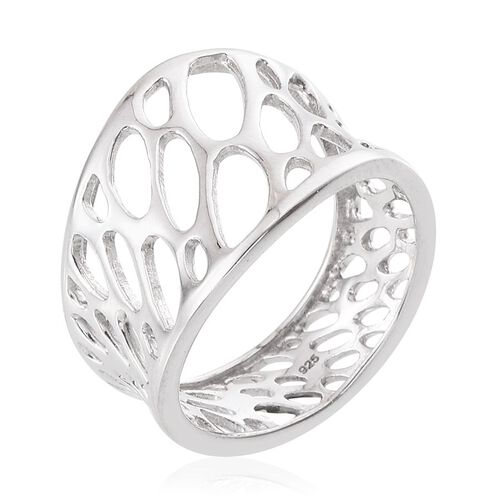 Platinum Overlay Sterling Silver Ring, Silver wt 4.15 Gms.