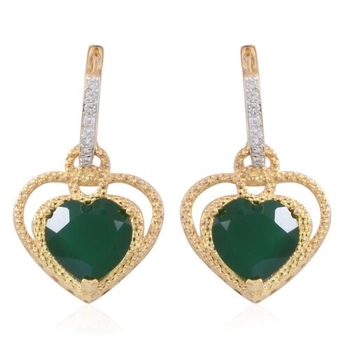 Verde Onyx (Hrt), Natural White Cambodian Zircon Earrings (with Clasp) in 14K Gold Overlay Sterling Silver 9.750 Ct.