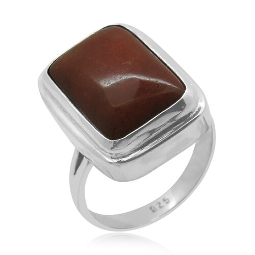 Royal Bali Collection Red Jade (Oct) Ring in Sterling Silver 16.860 Ct.