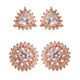 Set of 2 - ELANZA AAA Simulated Diamond (Trl) Stud Earrings (with Push Back) in Rose Gold Overlay Sterling Silver, Silver wt 3.60 Gms.
