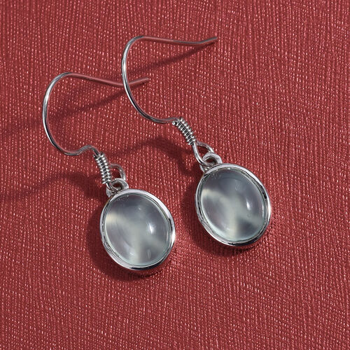 Aqua Chalcedony (Ovl) Hook Earrings in Platinum Overlay Sterling Silver 5.250 Ct.