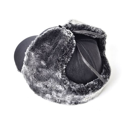 Black Colour Faux Fur Trapper Hat (Size 23X14 Cm)