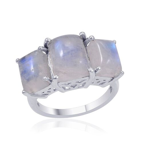 Rainbow Moonstone 3 Stone Ring in Platinum Overlay Sterling Silver 7.000 Ct.