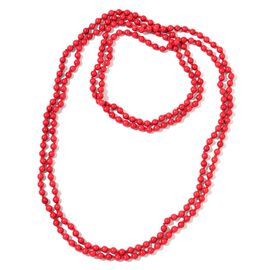 Super Auction - Red Howlite Beads Necklace (Size 100) 824.500 Ct.