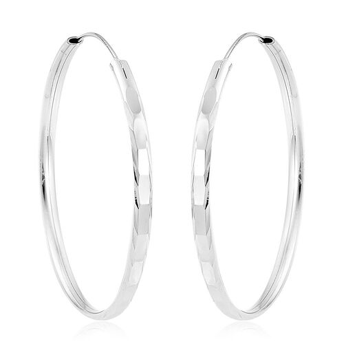 Rhodium Plated Sterling Silver Hoop Earrings (with Clasp), Silver wt. 4.40 Gms.
