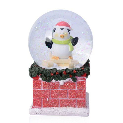 (Option 1) Home Decor - Penguin with Blue Scarf Glitter Musical Globe with Red Brick Base