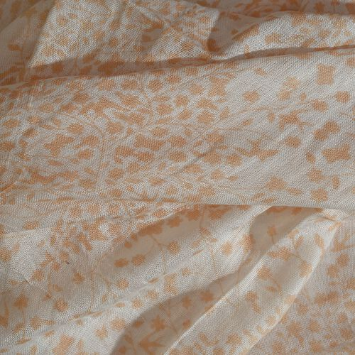 Designer Inspired-Peach and White Colour Floral Printed Scarf (Size 180x70 Cm)