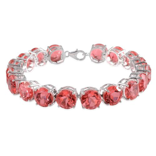 Padparadscha Colour Quartz (Rnd) Bracelet in Platinum Overlay Sterling Silver (Size 7.75) 77.000 Ct.