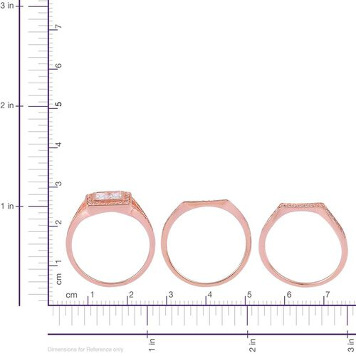 AAA Simulated White Diamond 3 Ring Set in Rose Gold Overlay Sterling Silver